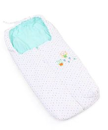 Montaly Dotted Sleeping Bag Animal Embroidery - White Sea Green