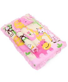 Montaly Baby Bedding With Bolster And Pillow Animal Print -Pink