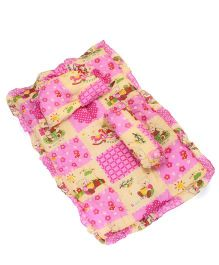 Baby Bedding With Bolster And Pillow Bear Print - Pink Yellow