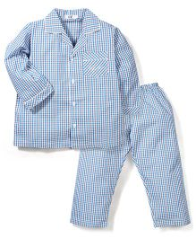 Enfant Checkered Night Suit - Blue