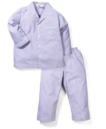 Enfant Striped Night Suit - Light Blue