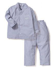 Enfant Checkered Night Suit - Light Grey