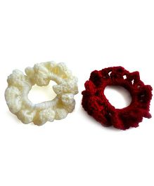 Pretty Ponytails Set Of 2 Hand Crochet Scrunchies - Off White & Maroon