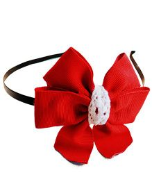 Pretty Ponytails Ribbed Bow Hair Band - Red