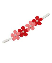 D'Chica A Chic Felt Headband For Girls - Red & Pink