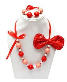 D'Chica Shimmery Bow Jewelry Set  - Pink, Red & White