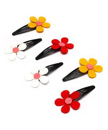 D'Chica 3 Pair Of Chic Felt Clips For Girls - Red Yellow & White