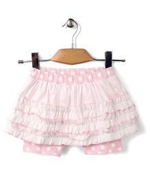 Enfant Dot Print & Ruffle Skeggings - Pink