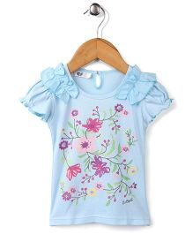 Enfant Flower Print Top -  Blue