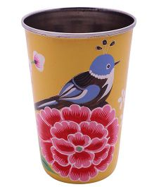 The Crazy Me Handpainted Colorful Bird Tumbler Large - Yellow