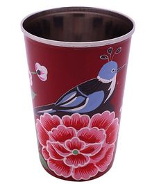 The Crazy Me Handpainted Colorful Bird Tumbler Large -  Red