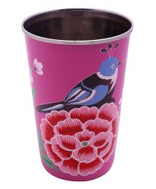 The Crazy Me Handpainted Colorful Bird Tumbler Large - Pink