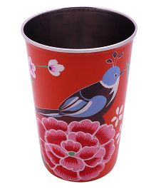 The Crazy Me Handpainted Colorful Bird Tumbler Large -  Orange
