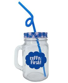 The Crazy Me Coffee First Mason Jar  - Blue
