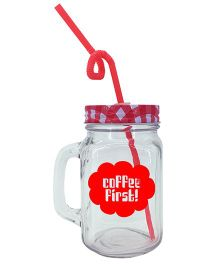 The Crazy Me Coffee First Mason Jar  - Red