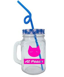 The Crazy At Peace Mason Jar  - Blue