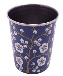 The Crazy Me Hand Painted Floral Tumbler Small - Blue