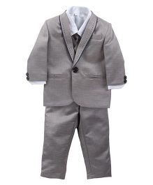 Babyhug Four Piece Party Suit - Grey