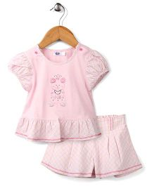 Enfant Bear Print Top & Skirt Set - Pink