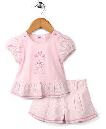 Enfant Bear Print Top & Skirt Set - Pink