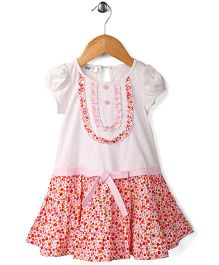 Enfant Flower Print Dress - Pink & White