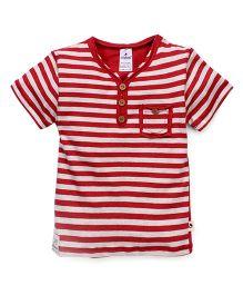 Ollypop Half Sleeves T-Shirt Stripes Print - Red