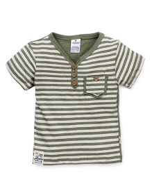 Ollypop Half Sleeves Stripe T-Shirt - Green