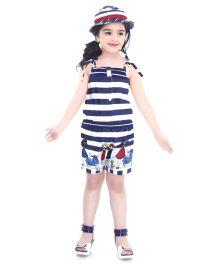 N-XT Singlet Stripe Jumpsuit With Cap Doll Print - Blue