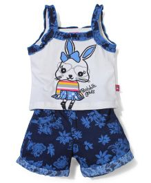 Wow Girl Singlet Top And Shorts Rabbit Print - White Blue