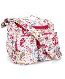 Little Wacoal Flower Print Diaper Bag - White