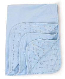 Little Wacoal Animal Print Blanket - Sky Blue