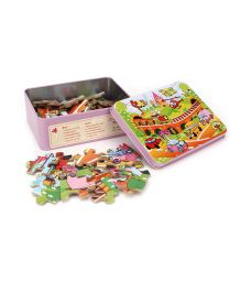 Playmate Puzzle With Numbers Vehicle Print - Pink