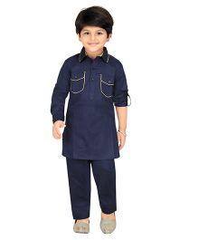 Robo Fry Full Sleeves Pathani Suit - Navy