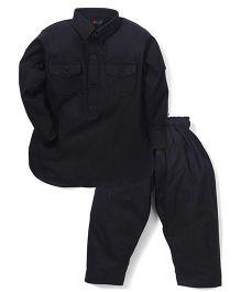 Robo Fry Full Sleeves Pathani Suit - Black