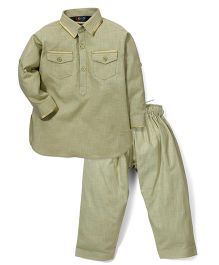 Robo Fry Full Sleeves Pathani Suit - Olive Green