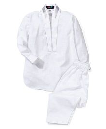 Robo Fry Full Sleeves Pathani With Pajama - White