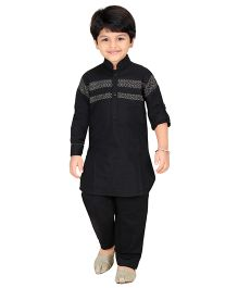 Robo Fry Full Sleeves Pathani Suit - Black