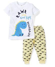 Tiny Bee Boys Tee & Pyjama Set - White & Yellow