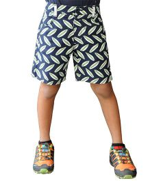 Snowflakes Shorts With Leaves Prints - Blue