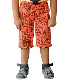 Snowflakes Animal Stripes Print Capri - Orange