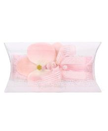 Kiddy Rabbit Lace Headband Floral Applique - Light Pink