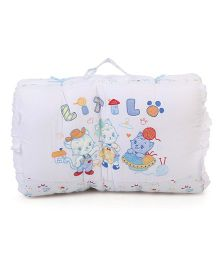 Little Wacoal Little Friend Print Baby Bed Set - White & Blue