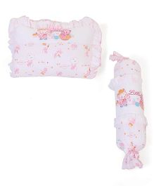 Little Wacoal Cat Print Baby Bed Set - White & Pink