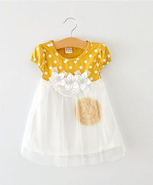 Pikaboo Party Wear Princess Flora Dress - Mustard Yellow