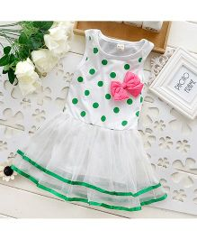 Pikaboo Polka Dotted Party Wear Dress - Green