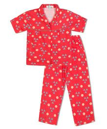 Green Apple Triangles And Circles Nightsuit - Red