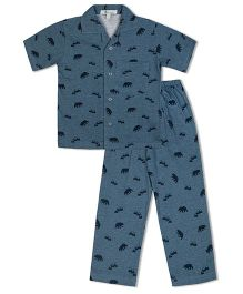 Green Apple Dark Blue Bears Nightsuit - Blue