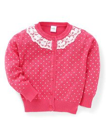 Babyhug Full Sleeves Cardigan Lace Design - Pink