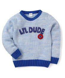 Babyhug Full Sleeves Sweater Lil Dude Patch - Sky Blue