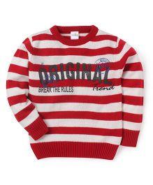 Babyhug Full Sleeves Stripe Sweater Original Trend Design - Off White Red